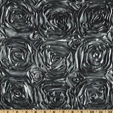 Charcoal Grey Satin 3D Roses Rosette Fabric Sold By The Yard by smallsproutsbaby on Etsy