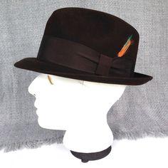 c42635f32875b1 Vintage CHAMP Fedora Mid-century Brown 7 Kasmir Finish Fur Felted Hat W/  Feather for sale online | eBay