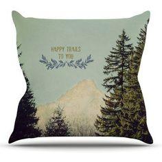 Kess InHouse Robin Dickinson Happy Trails Green Outdoor Throw Pillow - RD1076AOP03, KESS120-2