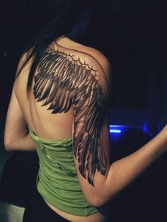 Amazing Half Shoulder Angle Wing Tattoo for Girls