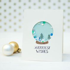 I am popping in today to share a couple of fun shaker cards that I made with some of Waffle Flower Craft's August Release: A Homemade Christmas Stamp Set, Riverside Die Set, and Santa. Simple Christmas Cards, Beautiful Christmas Cards, Homemade Christmas Cards, Christmas Tree Cards, Handmade Christmas, Holiday Cards, Christmas Diy, Tarjetas Diy, Christmas Snow Globes