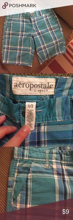 Blue plaid Aeropostale Bermuda Shorts Size 1 or 2 Adorable pair of lightweight Bermuda shorts by Aeropostale in size 1/2. Love these shorts but they're a bit too small all around (I wear a 0 in J Crew and Gap, for reference). Approx. 1-inch snag near waistband--not noticeable when worn, see last picture Aeropostale Shorts Bermudas