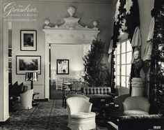 The Upper Lobby at #TheGreenbrier in 1948 (the current Lobby Bar area).  #DorothyDraper http://www.greenbrier.com