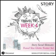 For All The Beautiful Jetsettets!  Flying can be hard on the skin from the pressurized environment of a plane that completely sucks moisture out of the skin, leaving it looking dehydrated and dull.For some, the anxiety of flying also increase stress hormones that cause redness, inflammation and acne breakouts. Try Story Seoul Skincare Travel Size Globe Trotter Set: 1. Purifying Cleansing Foam, 25 ml 2. Calming & Revitalizing Toner, 25 ml 3. Hydrating Daily Lotion, 25 ml Safe Travels…