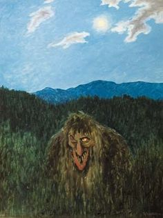 Troll -- a supernatural being in Norse mythology and Scandinavian folklore. They live far from human habitation and are considered dangerous to human beings. -- (Painting by Theodore Kittelsen [1857-1914])