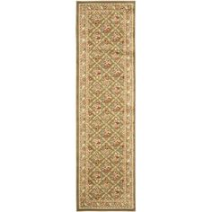 Safavieh Lyndhurst Traditional Floral Trellis Green Rug (2'3 x 12') (LNH556-5252-212), Size 2'3 x 12'