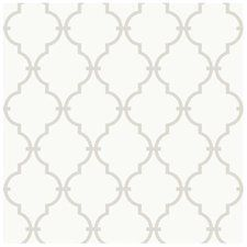Peek-A-Boo Graphic Trellis Wallpaper - Color: White / Soft Taupe Gray