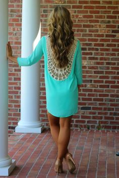 Mint paired with nude heels. love the crochet