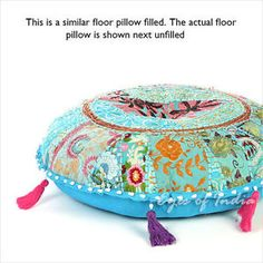 17-BLUE-ROUND-DECORATIVE-FLOOR-SEATING-CUSHION-PILLOW-COVER-Bohemian-Decor
