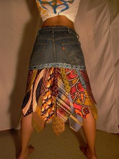 Ties and denim skirt
