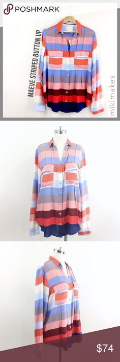 "🆕 MAEVE • NWT striped coral blue button down top • Brand new with tags striped shirt from Anthropologie brand Maeve • button down with two front pockets • long sleeves with cuff • pleated back detail • collared v-neck • slightly longer at the back  100% rayon Machine wash cold  ✂️  Bust = 40"" ✂️  Waist = 42"" ✂️  Shoulder = 16.5"" ✂️  Length = 27.5""  • sorry no trades • please feel free to ask any questions  ❤️,  @mikimakes  053117.10. Anthropologie Tops Button Down Shirts"