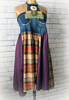 LETTIE Dress  This one of a kind dress has a bodice that was reconstructed from stretchy jeans. Its a halter style with embellishments on the front. The bottom of the dress is drapey and flared in a mix of plaid and purple cottons. Womens Size Small Bust: will fit 32-35 inches