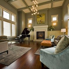 en www.es 19 Creative Ways How To Decorate Living Room with Piano Living Room Green, Living Room Decor, Dining Room, Style At Home, Living Room Designs, Living Spaces, Sage Green Walls, Transitional Living Rooms, Transitional Windows