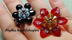 Briolette Flower Beaded Ring & Pendant Tutorial (+playlist).  (Technique for making flowers:  scale down for earrings.)