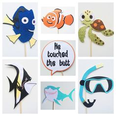 Finding Nemo ; Finding Dory Photo Booth Props ; Under the Sea ; Disney Party ; Ocean Photo Booth Props  by Lets Get Decorative