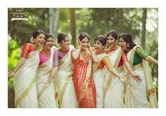 Onam saree, bridesmaid, contrast colour blouses