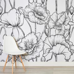 black-white-illustrated-flowers-square-wall-murals