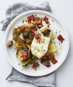 Hake With Bacon-Roasted Leeks and Mushrooms