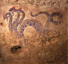 Three headed dragon wall painting from an Etruscan tomb at the necropolis of Pianacce, dated to the century BC. Ancient Rome, Ancient Greece, Ancient History, Art History, Roman History, Roman Art, Minoan, Carthage, Greek Art