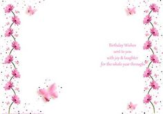 Pink Gerbera Butterfly wishes Birthday insert on Craftsuprint - Add To Basket!