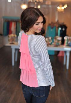 Dottie Couture Boutique -  Ruffle Back Top- Grey, $32.00 (http://www.dottiecouture.com/ruffle-back-top-grey/)