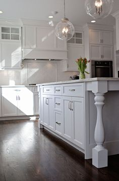 Kitchen Island with Turned Legs, Transitional, kitchen, Integrity Custom Woodworks