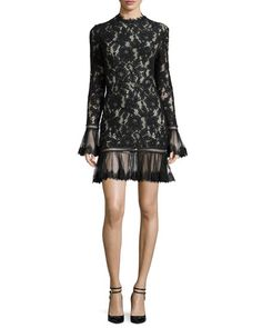 TCX7G Alexis Nicole Long-Sleeve Floral-Lace Dress, Black