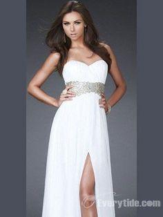 Elegant A-line Sweetheart Floor-length Chiffon White Prom Dress / Evening Dress in Navy