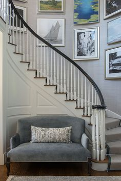 Interior designer Christian Sullivan Roughan featured Bermuda Hemp 5260 Elephant in the stairway of a client's home.