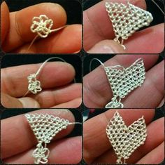 This Pin was discovered by Nev Crochet Flower Tutorial, Crochet Flowers, Easy Paper Crafts, Diy And Crafts, Cute Bracelets, Needle Lace, Lace Making, Knitting Stitches, Tatting