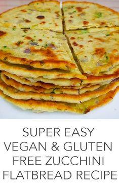 Super Easy Vegan & Gluten Free Zucchini Flatbread Recipe Dairy free - Egg free - Gluten free - Vegan - Quick and easy, healthy, vegan flatbread. Dairy Free Recipes, Veggie Recipes, Vegan Gluten Free, Whole Food Recipes, Vegetarian Recipes, Cooking Recipes, Healthy Recipes, Gluten Free Zucchini Recipes, Courgette Recipe Healthy