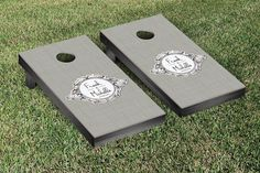 Monogram Textured Wedding Cornhole Game Set