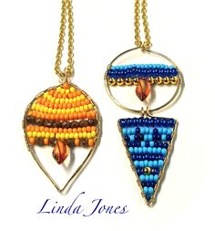 Summery beaded pendants from gold wire with blue/yellow bead selection. As shown on C&C TV 26th April show