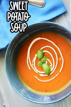Sweet Potato Soup is a delicious fall recipe idea! Made with basil and ginger, it is perfect for lunch or dinner!