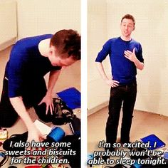 Tom Hiddleston is so cute. This is one of the cutest moments I seen of him so far. :
