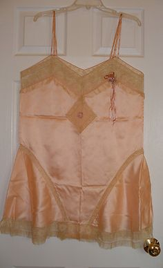 1920s Peach Silk Teddy Lace and Flowers Large to XL Apparently Never Worn | eBay