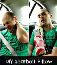 DIY Comfortable Seat belt Road Trip Car Pillow.