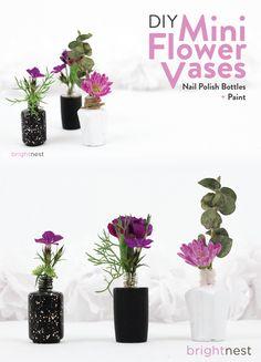 BrightNest #DIY | Upcycle Nail Polish into Mini Flower Vases