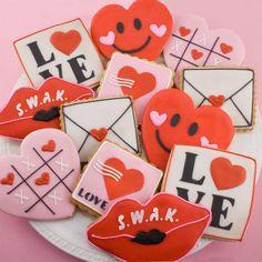 San Valentín Cookie regalo surtido - 'Enviar amor' (12 cookies)