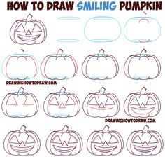 pumpkin drawing step by step. huge guide to drawing cartoon pumpkin faces / jack o\u0027lantern \u0026 expressions emotions easy step by tutorial for kids on halloween - how .
