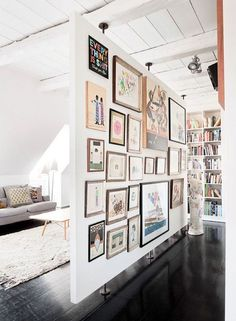 Grant & Mark Transform a Neglected House House Tour floating wall + gallery 15 Homey Rustic Living Room Designs Modern Home Design Style At Home, Free Standing Wall, Divider Design, Floating Wall, Cool Ideas, Bar Ideas, Creative Ideas, Creative Design, Deco Design