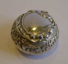 UNUSUAL ANTIQUE STERLING SILVER PILL BOX BIRMINGHAM 1899