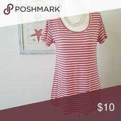 Lularoe xxs striped classic tee high low top Pink and white stripes, euc. LuLaRoe Tops Tees - Short Sleeve