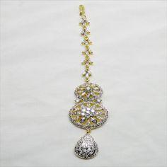 White American Diamond Studded Mangtika