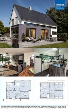 Even where a gable roof is . Even where a gable roof is required, a modern architec - Model House Plan, House Plans, Modern Architectural Styles, Gable Roof, Gable House, Basement Inspiration, Home Design Plans, My Dream Home, Home Projects