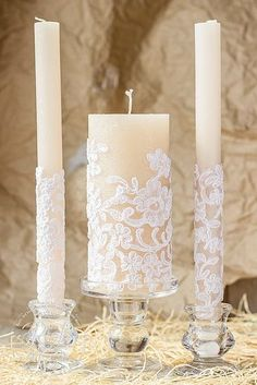 Karamell & Spitze Hochzeit Einheit Kerzen von RusticBeachChic
