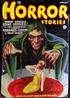 Horror Stories pulp cover art by Rudolph Zirn