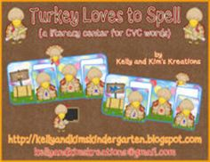 Turkey Loves to Spell is a full color, one-time prep literacy center for CVC words. Children will practice isolating letter sounds in short words and finding the corresponding letters to spell forty different CVC words that match pictures in turkey-themed scenes.