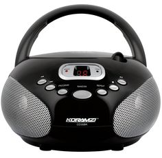 Koramzi Portable CD Boombox Stereo Sound System with Top-Loading CD Player, AM/FM Radio, and Aux Line-In- CD35(Black)