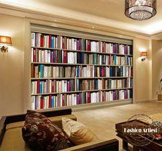 Custom Modern 3d Book Wallpaper Mural Bookshelf Cabinet Bookcase Tv Sofa Bedroom Living Room Cafe